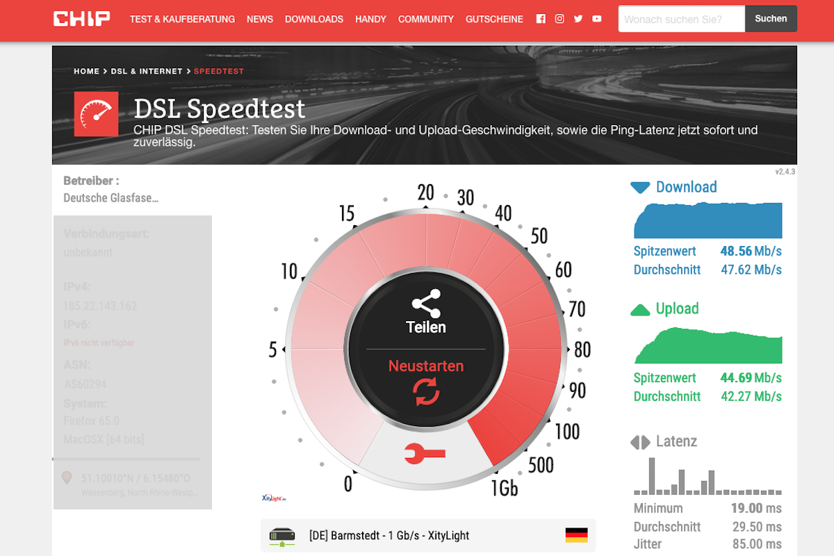 deutsche glasfaser speedtest