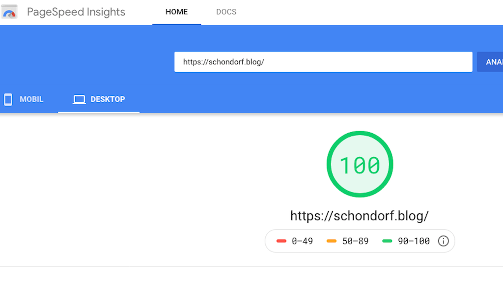 Google PageSpeed Test May 1, 2020