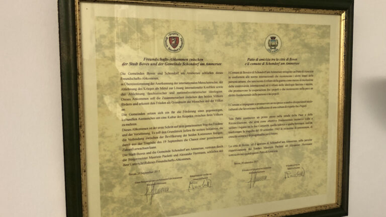 Urkunde Partnerschaft Schondorf – Boves