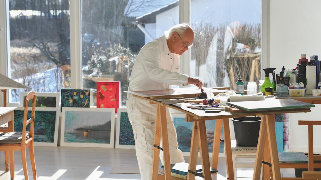 Hans-Jürgen Westphal in seinem Atelier am Ammersee